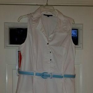 VGUC  SHARAGANO white belted summer dress sz 16